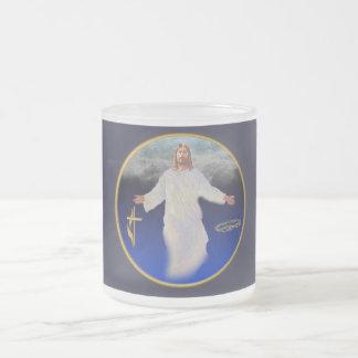 Jesus return frosted glass mug