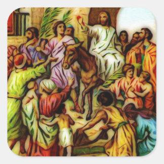 Jesus Rides the Donkey into Jerusalem Square Sticker