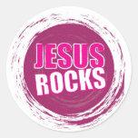 Jesus Rocks 1 Pink Round Sticker