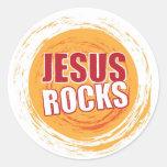 Jesus Rocks 2 Orange Classic Round Sticker