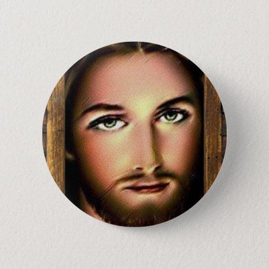 JESUS SACRED HEART  WOOD FRAME 28  CUSTOMIZABLE P 6 CM ROUND BADGE
