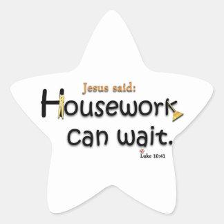 Jesus Said Housework Can Wait Star Sticker