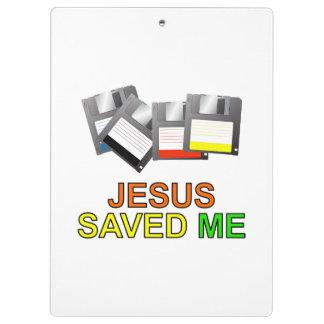 Jesus Saved Me Floppy Disk Clipboard