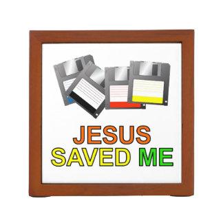 Jesus Saved Me Floppy Disk Pencil/Pen Holder