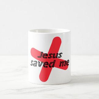 Jesus saved me Red black Basic White Mug