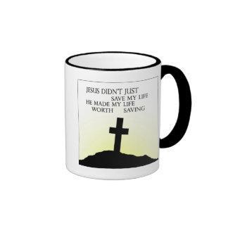 Jesus Saved my Life Ringer Coffee Mug