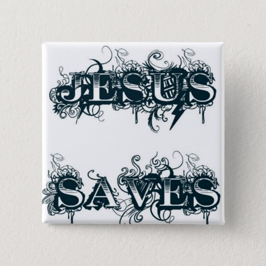 JESUS SAVES 15 CM SQUARE BADGE