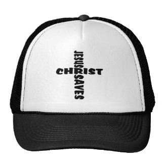 Jesus Saves Cross - black Cap