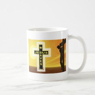 Jesus saves crucifixion picyure basic white mug