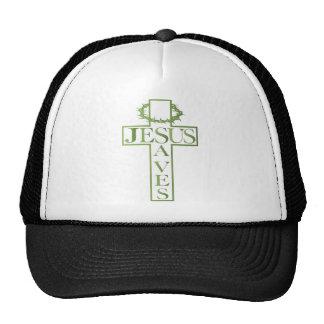 jesus saves green gradient cap