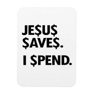 JESUS SAVES - I SPEND RECTANGULAR PHOTO MAGNET