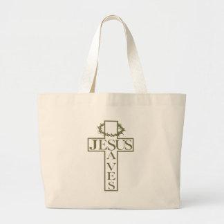jesus saves light od green large tote bag