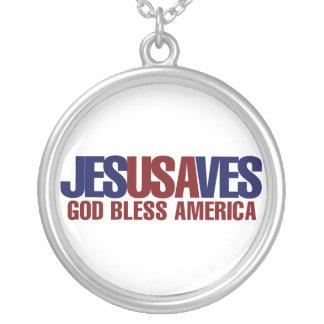 Jesus Saves Round Pendant Necklace