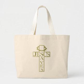 jesus saves od gradient large tote bag