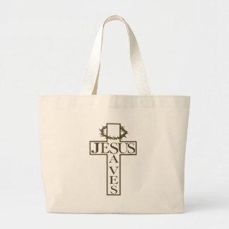 jesus saves od green tote bag