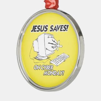 JESUS SAVES ON CYBER MONDAY CHRISTMAS ORNAMENT