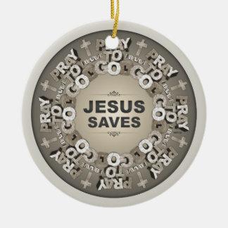 Jesus Saves Round Ceramic Decoration