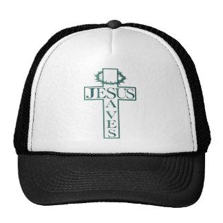 jesus saves teal gradient cap