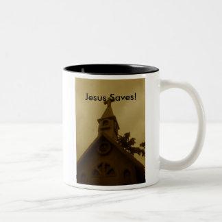 Jesus Saves! - Two Tone Coffee Mug