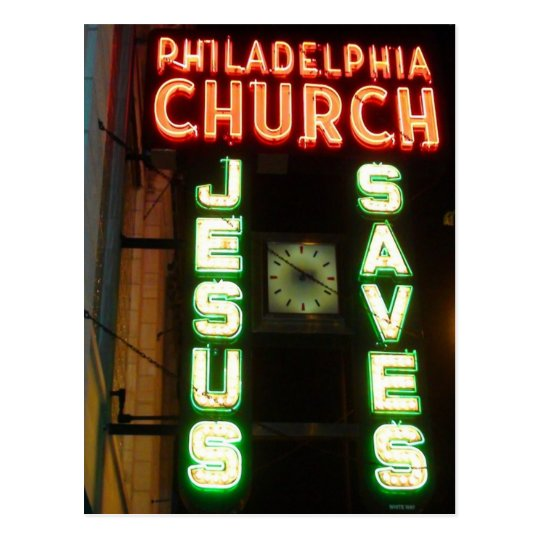 Jesus Saves Vintage Neon Sign Post Card