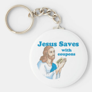 Jesus saves with coupons basic round button key ring