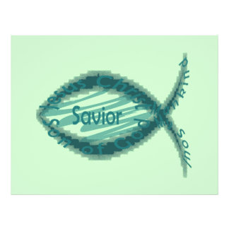 Jesus Savior Christian Fish Symbol 21.5 Cm X 28 Cm Flyer