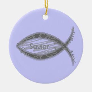 Jesus Savior Christian Fish Symbol Double-Sided Ceramic Round Christmas Ornament