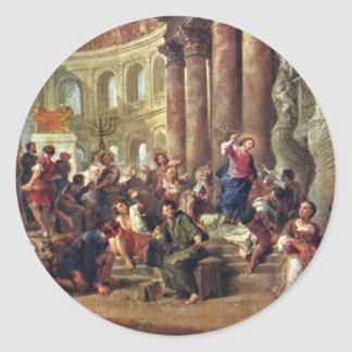 Jesus Sells The Merchants From The Temple Round Sticker