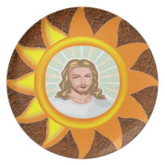 JESUS SHINING BRIGHT SUN PLATE