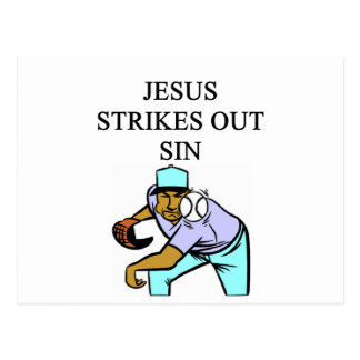 jesus strikes out sin post card