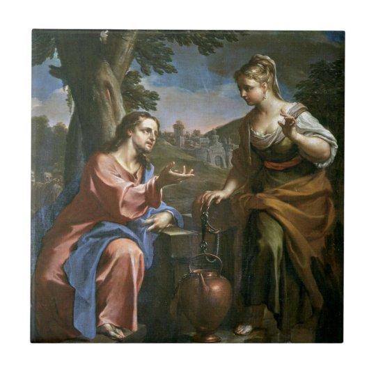 Jesus Teaches Samaritan Woman Tile