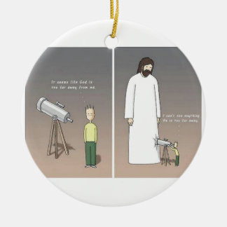 Jesus Telescope Christmas Ornament