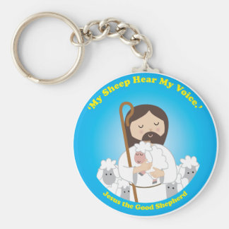 Jesus the Good Shepherd Basic Round Button Key Ring
