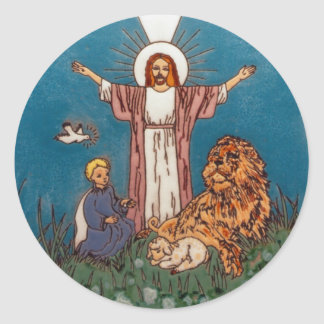 Jesus the Lion and the Lamb Round Sticker