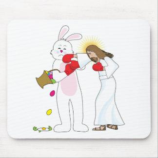 Jesus Versus Bunny Mouse Pads