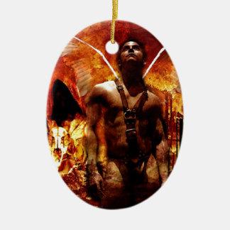 Jesus Versus Satan Ceramic Oval Decoration