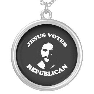 Jesus votes Republican - Round Pendant Necklace