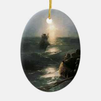 Jesus Walking on Stormy Seas Christmas Ornament