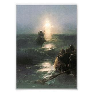 Jesus Walking on Stormy Seas Photo Art