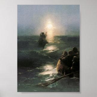 Jesus Walking on Stormy Seas Posters