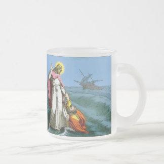 Jesus Walking on Water Frosted Glass Mug