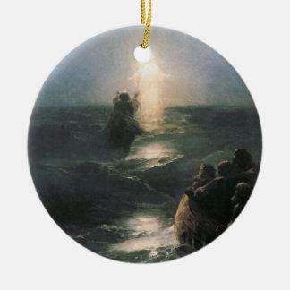 Jesus Walking on Water, Ivan Aivazovsky Painting Christmas Ornament