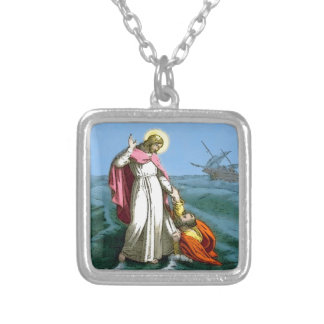 Jesus Walking on Water Silver Plated Necklace