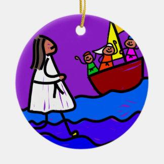 Jesus Walks on Water Round Ceramic Decoration