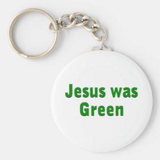 Jesus was Green Basic Round Button Key Ring