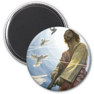 Jesus with a Gun Refrigerator Magnets