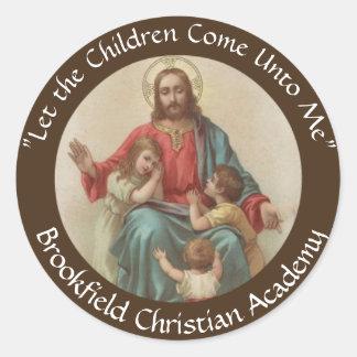 Jesus with Children Christian Homeschool Classic Round Sticker