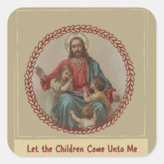Jesus with Children Christian Homeschool Square Sticker