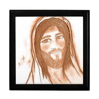 Jesus with Crosses in the Background Large Square Gift Box