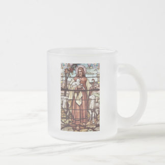 Jesus with His Sheep Frosted Glass Mug